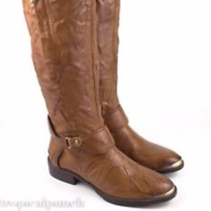 Sam Edelman Presley Whiskey Wrinkled Leather Boots